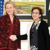 US Ambassador Alice Wells along with senior US, NSC received by Foreign Secretary Tehmina Janjua at Foreign Office today
