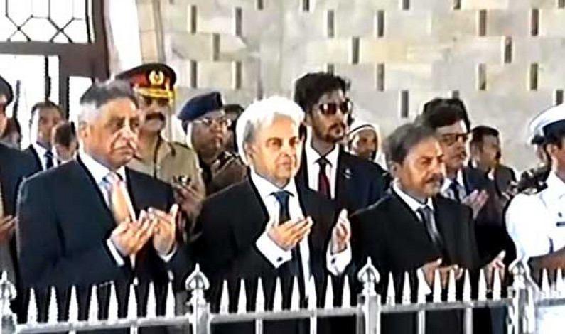 Caretaker PM pays visit to Quaid's mausoleum in Karachi