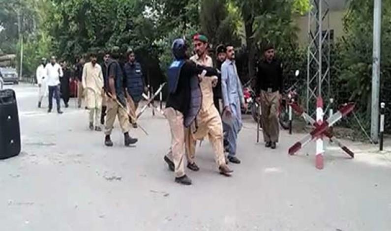 Several injured as police baton charge protesting students at Peshawar University