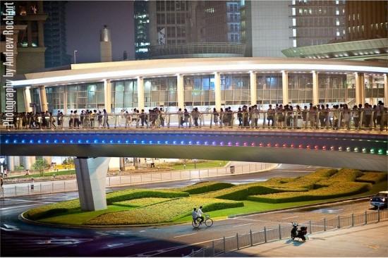 Circular Pedestrian Bridge in Lujiazui - China