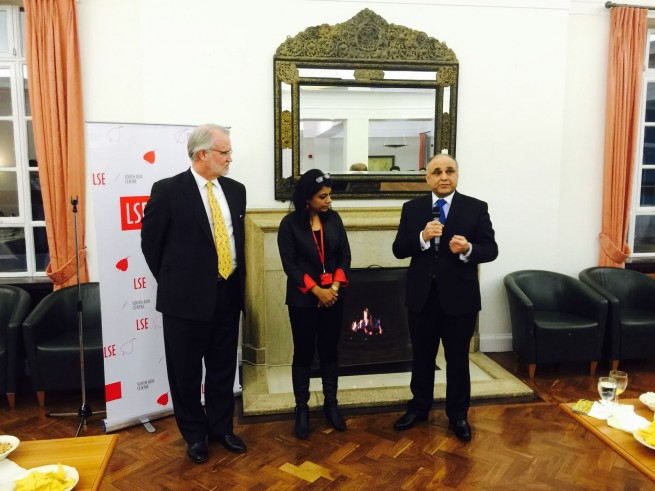 Syed Ibne Abbas, Pakistan High Commissioner to the UK addressing at the London School of Economics alumni reception on 16-2-2016. Professor Craig Calhoun, LSE President and Dr Mukulika Banerjee, Director South Asia Centre are also present.