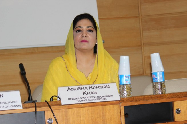 Minister for IT, Anusha Rahman addresses the UNESCO Mobile Learning Week Policy Forum