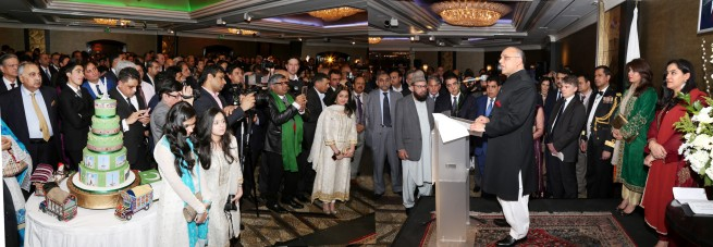 Syed Ibne Abbas, Pakistan High Commissioner to the UK speaking at the Pakistan Day Reception in London on 23-3-201.