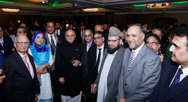 Syed Ibne Abbas, Pakistan High Commissioner to the UK receiving the guests at the Pakistan Day Reception in London on 23-3-201