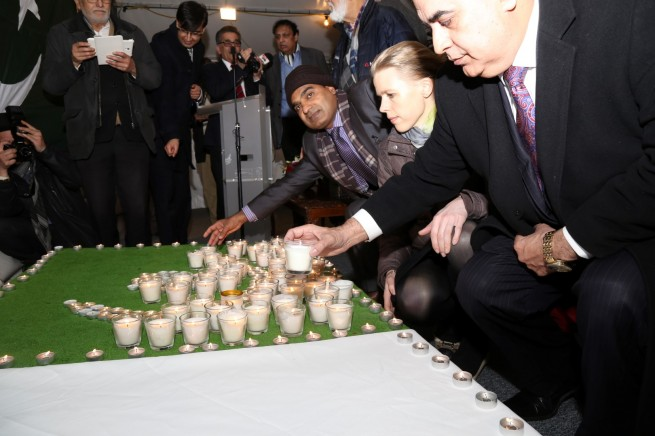 Photos taken at the Candle Light Vigil for Lahore terrorist attack victims at the Pakistan High Commission London on 29-3-2016