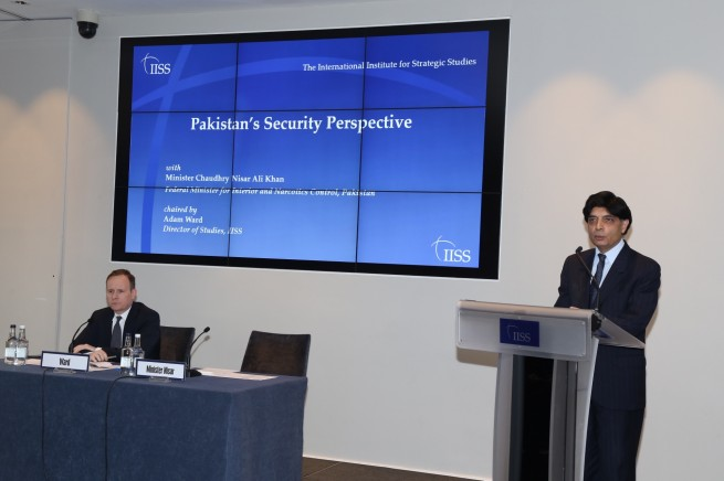 Interior Minister Chaudhry Nisar Ali Khan addressing at the International Institute for Strategic Studies (IISS), London on 26-4-2016