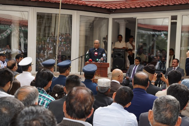 Ambassador Moin ul Haque addressing Independence Day ceremny in Paris on August 14, 2016