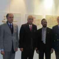 The Ambassador of Pakistan to France Mr. Moin ul Haque inaugurated the calligraphic exhibition of Pakistani artist Mr. Khalid Mahmood Siddiqui in a local art gallery in Paris, France Paris, today (28th October, 2016)