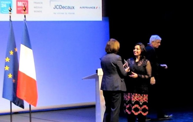 "Ms. Gulalai Ismail  cofounder of NGO ""Aware Girls"" with the Ambassador of Pakistan after receiving the prestigious Chirac Prize for ""Conflict Prevention"" in recognition of their contributions toward development of a culture of peace and non-Violence through the action of women and youth in Pakistan in Paris, France, today (24th November, 2016)."