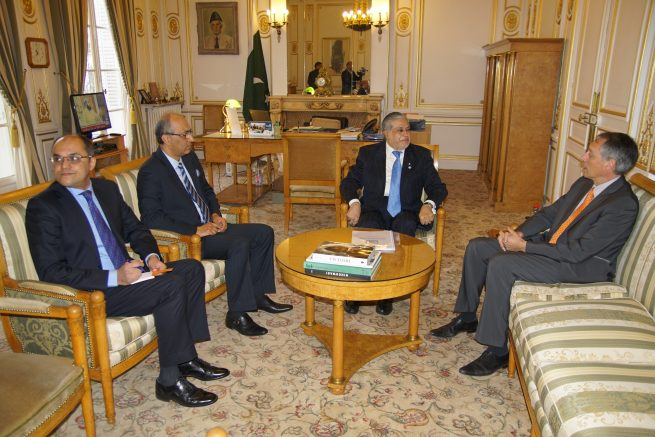 Senator Mohammad Ishaq Dar Federal Minister for Finance and Economic Affairs of Pakistan is holding bilateral meeting with Mr. Angel Gurria, Secretary General, Organization for Economic Cooperation and Development (OECD), in OECD Headquarter in Paris, Today (8th December, 2016) .