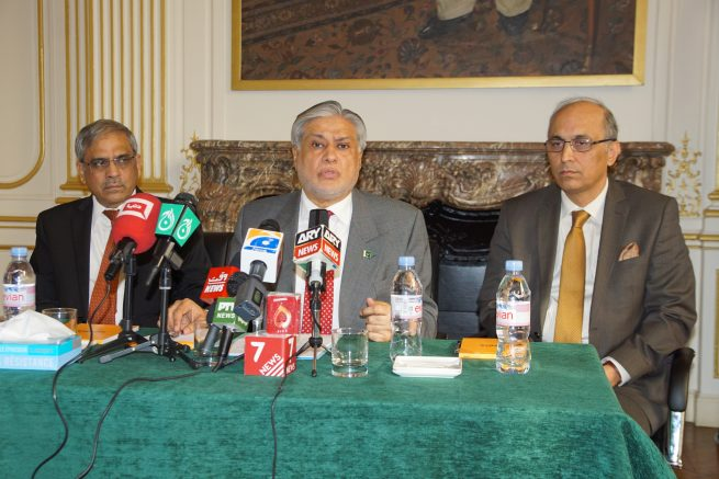 enator Mohammad Ishaq Dar Federal Minister for Finance and Economic Affairs of Pakistan is Interacted with French and Pakistani media In Embassy of Pakistan (9th December,
