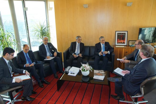 Senator Mohammad Ishaq Dar Federal Minister for Finance and Economic Affairs of Pakistan is meeting with Mr. Remy Rioux, CEO of French Development Agency (AFD), in AFD Headquarters, Paris, France