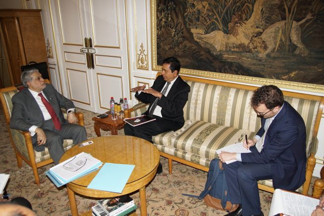 The Finance Minister meets with Mr. Sanjay Pradhan, CEO, Open Government Partnership who called on him the Embassy of Pakistan Paris today 9th Dec 2016