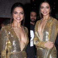 Deepika Padukone looks amazing in shining golden dress @ xXx India Premiere