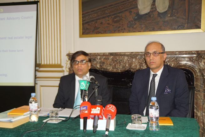 Barrister Amjad Malik, the Manchester based Chairman of Board of Governors of Oversees Pakistani Foundation of Pakistan is addressing the Pakistani Community in Paris and Paris Based Media persons in Embassy of Pakistan in Paris, today (27th, January, 2017)