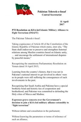 PTI, submits, resolution, against, Saudi, alliance, in, NA