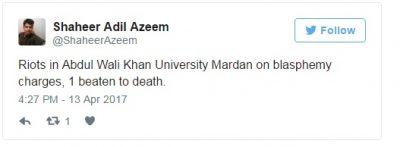 Mardan, university, student, killed, over, alleged, blasphemy:, police