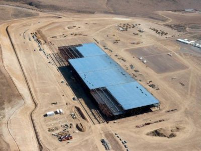 The Tesla Gigafactory is shown under construction outside Reno, Nevada. PHOTO: REUTERS