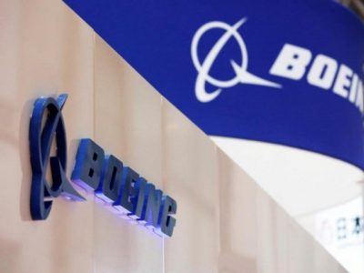 Boeing's logo is seen during Japan Aerospace 2016 air show in Tokyo, Japan, October 12, 2016. PHOTO: REUTERS