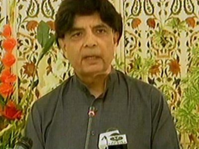 Interior minister Chaudhry Nisar addressing a news conference in Islamabad on April 15, 2017. EXPRESS NEWS SCREEN GRAB