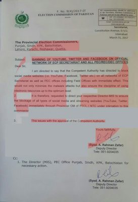ECP, bans, social media, YouTube, in, its, offices, across, country