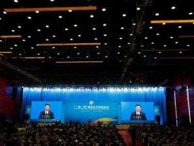 China's President Xi Jinping speaks at the opening ceremony of the Belt and Road Forum in Beijing on May 14, 2017
