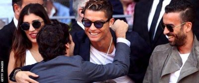 Current and former Real Madrid stars Cristiano Ronaldo and Raul Gonzalez were in the crowd