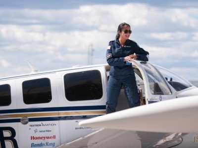 Shaesta Waiz, Afghanistan s first female certified civilian pilot and a recent graduate of Embry-Riddle Aeronautical University, arrives in Montreal, Canada, May 15, 2017 on the third leg of her round-the-world solo flight. PHOTO: AFP