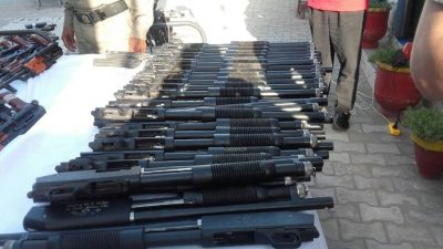 Huge, cache, of ,arms, ammunition, recovered, from, car, in, Sheikhupura
