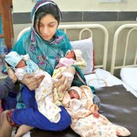 The mother and her children are safe and sound at the Ganga Ram Hospital on Saturday