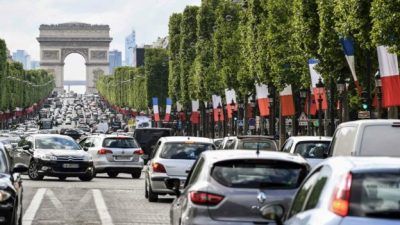 Flags lined the Champs-Elysees on Saturday ready for the inauguration
