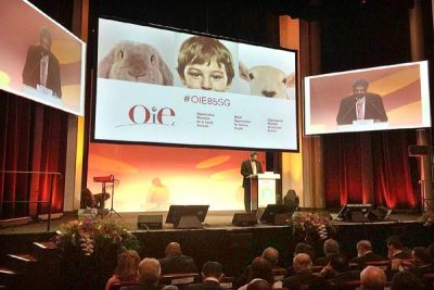 May 21 - Federal Minister for National Food Security and Research Sikandar Hayat Khan Bosan addressing at the 85th General Session of OIE. APP