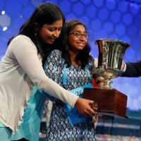 Ananya Vinay of Fresno, California celebrates after winning the 2017 Scripps National Spelling Bee at National Harbor in Oxon Hill, Maryland. Vinay took home a $40,000 cash prize after 12 hours of picking her way along a precarious lifeline of consonants and vowels, correctly spelling the word marocain, a dress fabric made of warp of silk or rayon and a filling of other yarns, to win the spelling bee. PHOTO: REUTERS