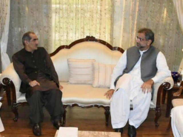 Railway Minister Khuwaja Saad Rafique briefed the prime minister on several initiatives launched by the government during the last four years. PHOTO: APP