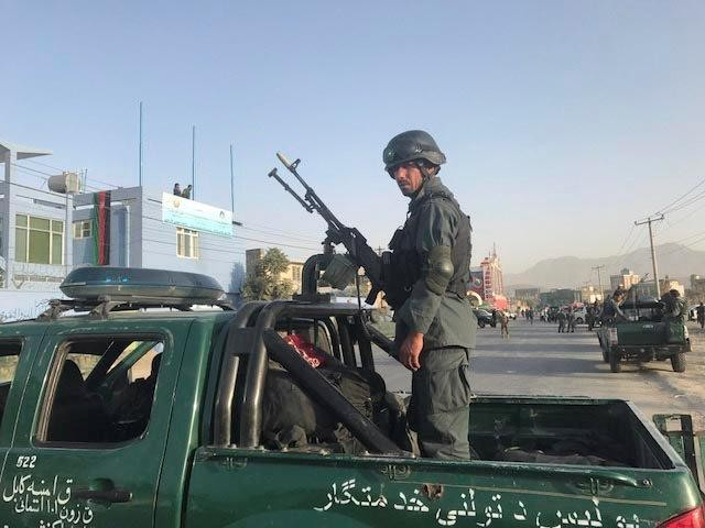An Afghan policeman stands at the site of a blast in Kabul, Afghanistan September 13, 2017. PHOTO: REUTERS  An Afghan policeman stands at the site of a blast in Kabul, Afghanistan September 13, 2017