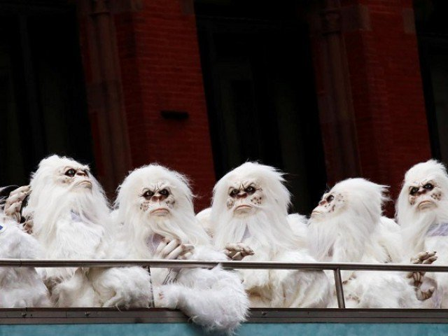 "FILE PHOTO: Actors dressed as a 'Yeti' ride aboard a tour bus during a promotional event for Travel Channel's ""Expedition Unknown: Hunt for the Yeti"" in Manhattan, New York City, U.S. on October 4, 2016. PHOTO: REUTERS"