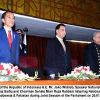 President H.E. JOKO WIDODO's visit and address to this Parliament is of immense historic importance to us, Ayaz Sadiq