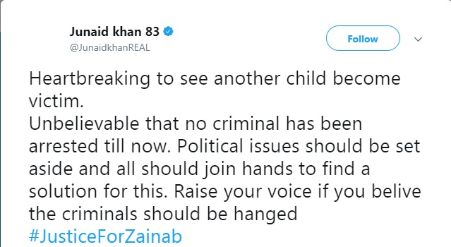 Pak Cricket Team mourns on brutal Kasur incident and expressed profound grief for innocent Zainab