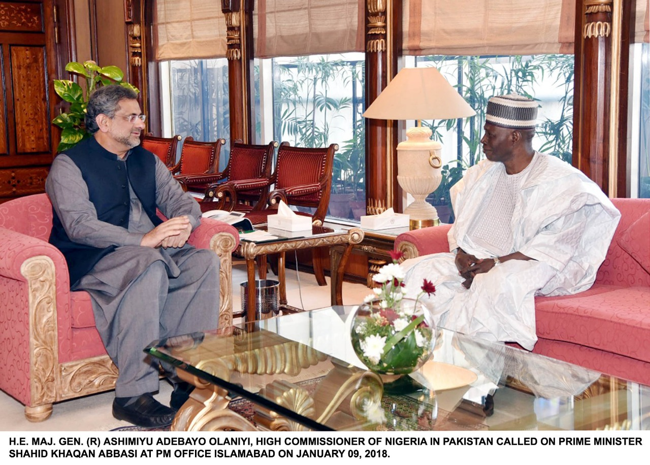 H.E. Maj. Gen. (R) Ashimiyu Adebayo Olaniyi, High Commissioner of Nigeria in Pakistan called on Prime Minister Shahid Khaqan Abbasi