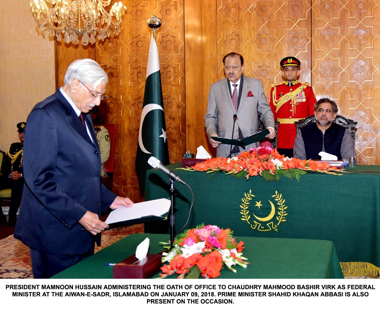 President, Mamnoon Hussain ,administered,oath, of, office, to ,MNA, Chaudhry Mahmood Bashir, Virk, as, Federal Minister