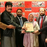 "Senior advisor for overseas Pakistanis federal Ombudsman Pakistan Hafiz Ehsan Ahmed Khokhar cut the cake and distributed certificates in students on completion of a year of ""NICON Talent Hunt"""