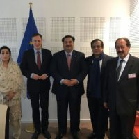 Minister for Defence Mr.Khurram Dastgir Khan and members of Parliamentary delegation of Pakistan-EU Friendship Group with MEP David McAllister the Chair of the Foreign Affairs Committee in the European Parliament. Brussels