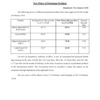 New Prices of Petroleum Products