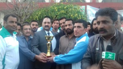 Grand Master Shihan Raja Khalid Disseminating the Prizes to the Winners and Organizers, Rawalpindi District Boxing championship
