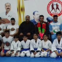 Legends of Islamabad Mixed Martial Arts , Grand master Shihan Raja Khalid , Shihan Zaheer Ali Mashadi with young champions at MMA head quarter Islamabad,Pakistan