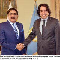 Turkish, Ambassador, Mr. Ishan Mustafa Yardakul ,called ,upon ,National ,Security ,Adviser ,Lt. Gen (R) Naser Khan Janjua