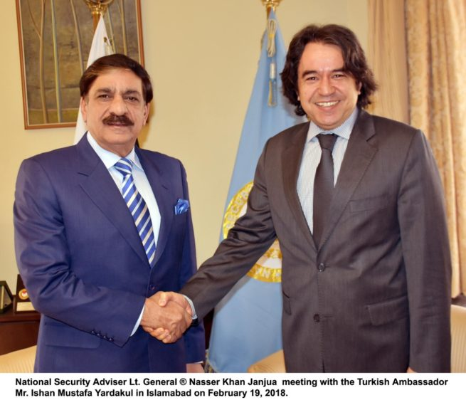 Turkish, Ambassador, Mr. Ishan Mustafa Yardakul ,called ,upon ,National ,Security ,Adviser ,Lt. Gen (R) Naser Khan Janjua