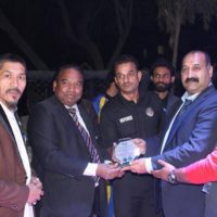 Chairman Mixed Martial arts RAJA Khalid giving the MMA award to Asghar Ali Mubarak founder President south Asia Sports Journalists Association