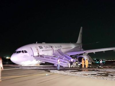 JEDDAH:,Saudi,Arabian,Airlines,flight,SV3818,,which,was,travelling,from,Medinah,to,Dhaka,,had,to,be,diverted,to,Jeddah,after,suffering,a,malfunction,with,the,nose,landing,gear.