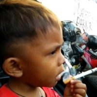 WATCH: Two-year-old toddler smokes 40 cigarettes a day